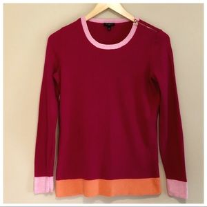 TALBOTS pink and orange colorblock sweater